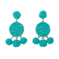 Beaded Circle Dangle Earrings - TURQUOISE