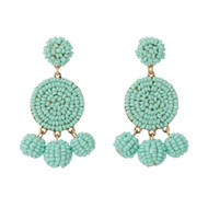 Beaded Circle Dangle Earrings - MINT