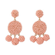 Beaded Circle Dangle Earrings - BLUSH