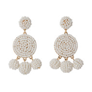 Beaded Circle Dangle Earrings - WHITE