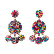 Beaded Circle Dangle Earrings - MULTI