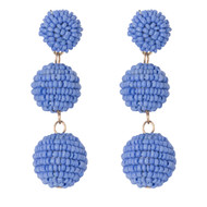 Beaded Ball Drop Earrings - HYDRANGEA