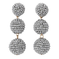 Beaded Ball Drop Earrings - SILVER