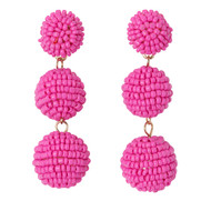 Beaded Ball Drop Earrings - PINK