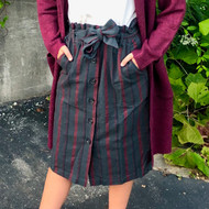 Together Again Striped Skirt - FOREST