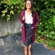 Be There For Warmth Cardigan - BURGUNDY