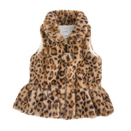 Mud Pie Faux Leopard Fur Vest - BROWN