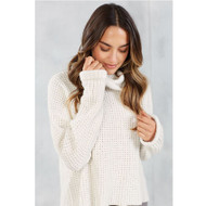 Mud Pie Wendy Waffle Knit Sweater - CREAM