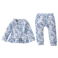 Mud Pie Blue Floral 2pc Set