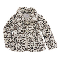 Mud Pie Faux Leopard Fur Jacket - BLACK