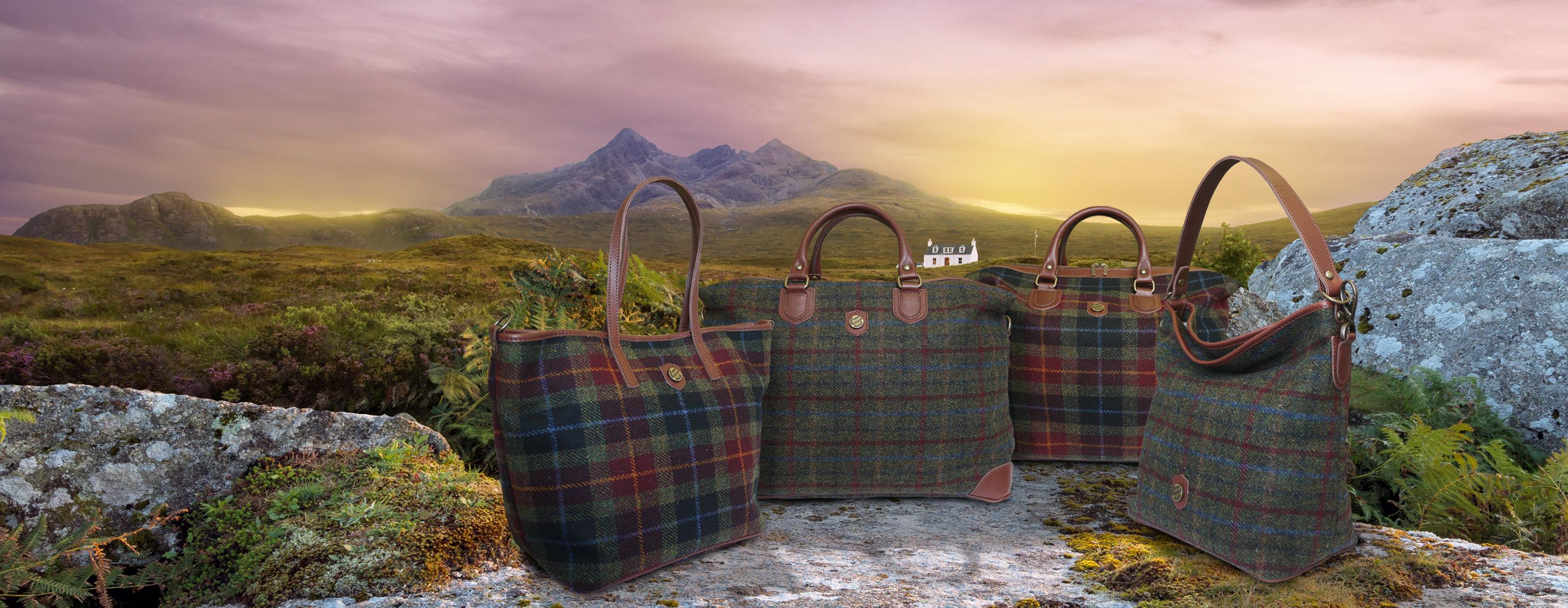 a53573904f1f Bonfanti Scottish Harris Tweed Tartan and Leather Handbags - Attavanti