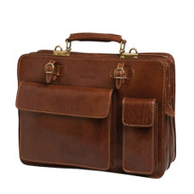 Chiarugi Top Zip Italian Medium Leather Briefcase - Brown