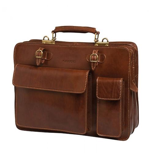 Chiarugi Top Zip Italian Medium Leather Briefcase - Brown