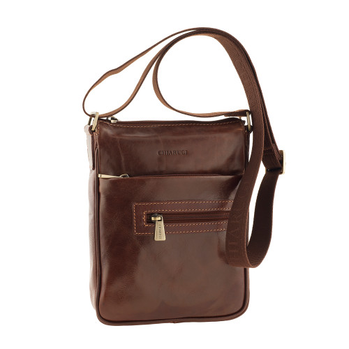 Chiarugi Small Leather Messenger - Brown