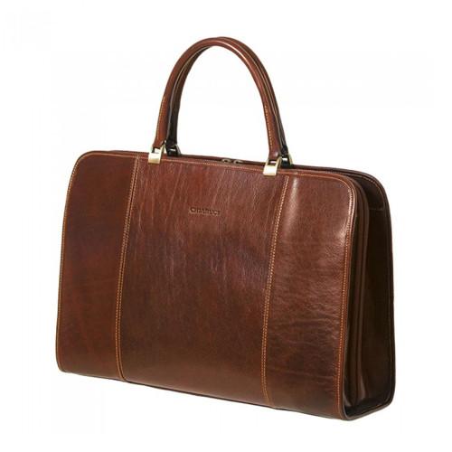 Chiarugi Italian Ladies Leather Briefcase Bag - Brown
