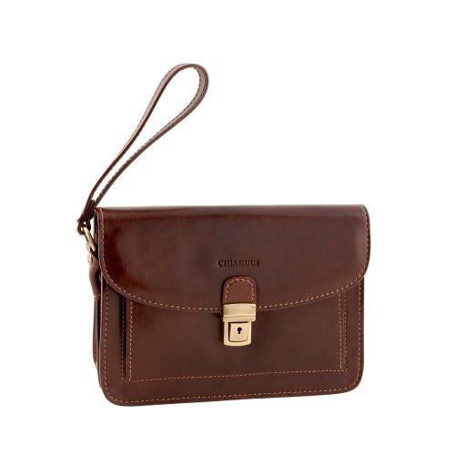 Chiarugi Italian Designer Leather Man Bag - Brown