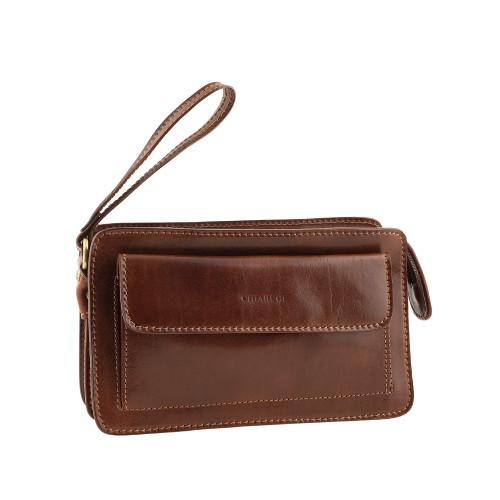 Chiarugi Italian Designer Leather Zip Man Bag - Brown
