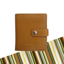 Toscanella Bi-Fold Purse Wallet with Coin Compartment - Tan