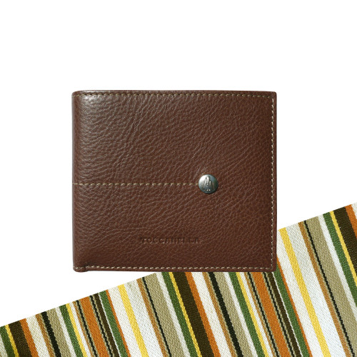 Toscanella Italian Leather Classic Bi-Fold Wallet - Brown