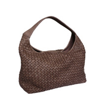 Paolo Masi Hand Woven Washed Italian Leather Hobo Bucket Bag - Brown