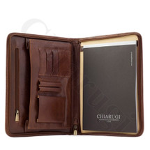 Chiarugi Leather A4 Notepad Organiser iPad Case - Brown