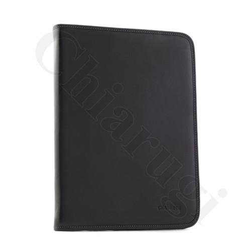 Chiarugi Leather A4 Notepad Organiser iPad Case - Black