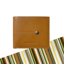 Toscanella Italian Leather Classic Bi-Fold Wallet - Tan