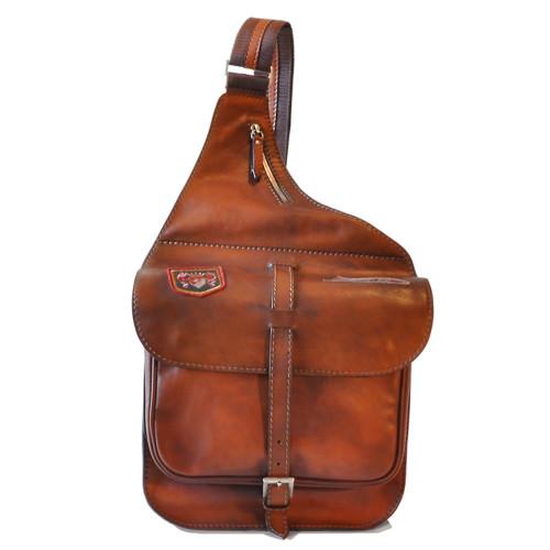 Pratesi Italian Leather Cross Body Saddle Style Bag - Brown