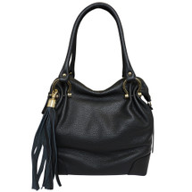 Carbotti Designer Italian Leather Tassel Hobo - Black