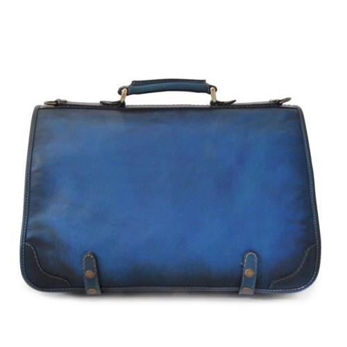 Pratesi Ammannati Large Aged Italian Leather Messenger - Blue