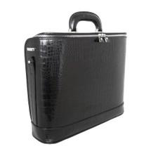 Pratesi Raffaello Italian Croc Print Leather Laptop Briefcase - Black