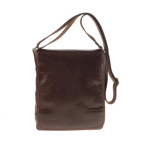 Chiarugi Italian Classic Leather Flap Messenger - Brown