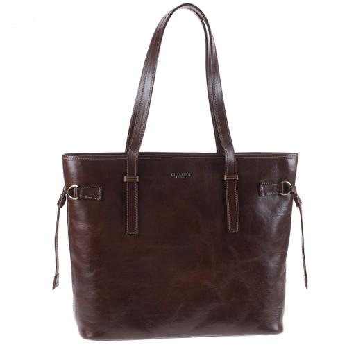 Chiarugi Italian Leather Large Tote Shopper Bag - Brown