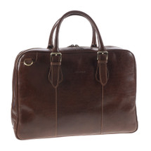 Chiarugi Italian Leather Laptop Document Bag - Brown