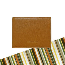 Toscanella Italian Leather Compact Flap Top Wallet - Tan