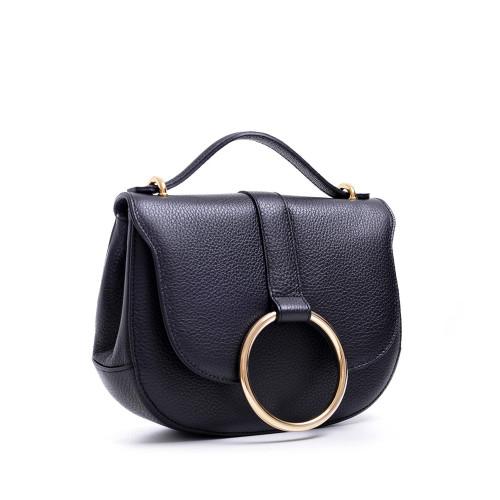 Carbotti Italian designer Leather Metal Ring Grab Handbag - Black