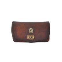 Pratesi Castel Aged Leather Shoulder Bag - Dark Brown