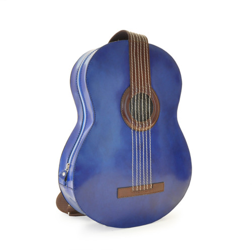 Pratesi Guitar Italian Polished Leather Backpack - Blue