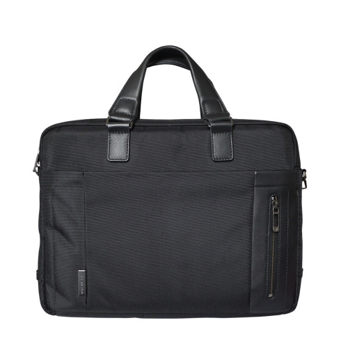 Roncato Nylon and Leather Zip Top Laptop Briefcase - Black