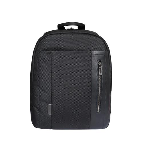 Roncato Designer Italian Leather Nylon Backpack - Black