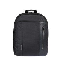 Roncato Designer Italian Leather Nylon Backpack - Black