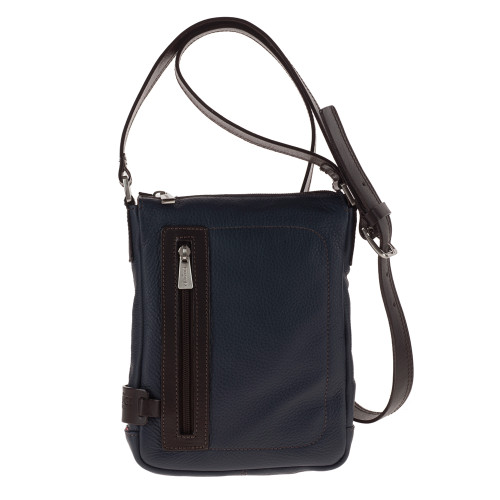 Chiarugi Small City Style Leather Messenger Bag - Blue
