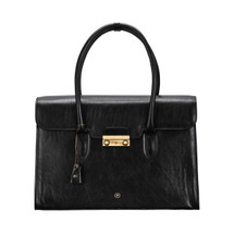 MSB Poppi Leather Laptop Tote Business Handbag - Black