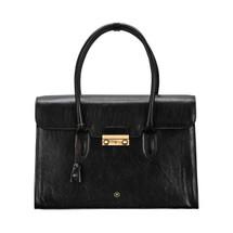 MSB Poppi Leather Laptop Tote Business Handbag - Black