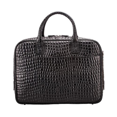 MSB Empoli Croco Leather Laptop Briefcase Bag - Black