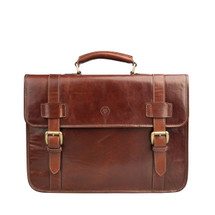 MSB Chaschina Italian leather Backpack Briefcase - Tan