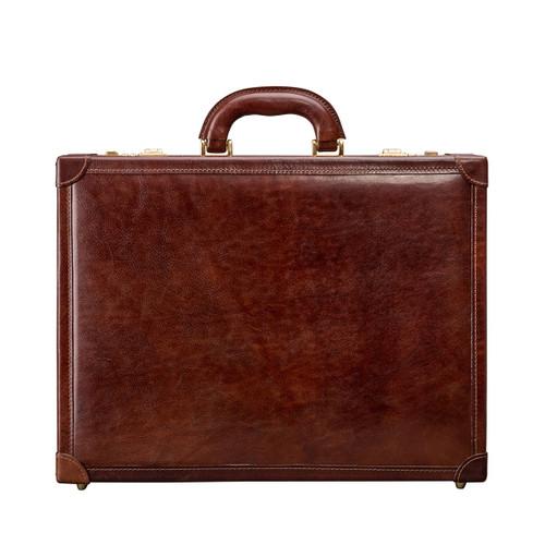MSB Carrara Italian Leather Slim Attache Case - Tan