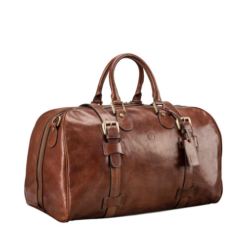MSF Pienza Italian Leather Holdall Travel Bag - Brown