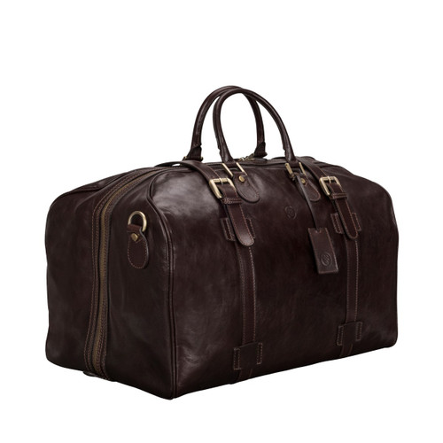 MSB Pienza Large Italian Leather Holdall Travel Bag - Brown