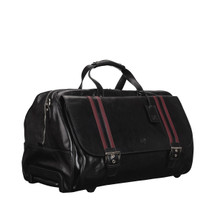 MSB Lucca Large Italian Leather Holdall Trolley Bag - Black
